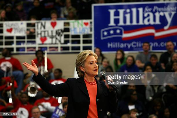 Democratic presidential hopeful Sen Hillary Clinton speaks during a post primary town hall meeting on the campus of Tennessee State University on...