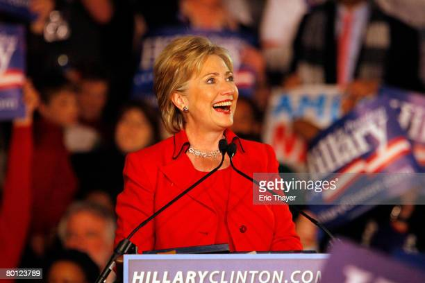 Democratic presidential hopeful Sen. Hillary Clinton speaks during a primary election night party at The Columbus Athenaeum March 4, 2008 in...
