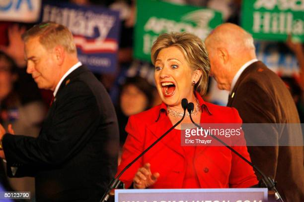 Democratic presidential hopeful Sen Hillary Clinton speaks during a primary election night party at The Columbus Athenaeum March 4 2008 in Columbus...