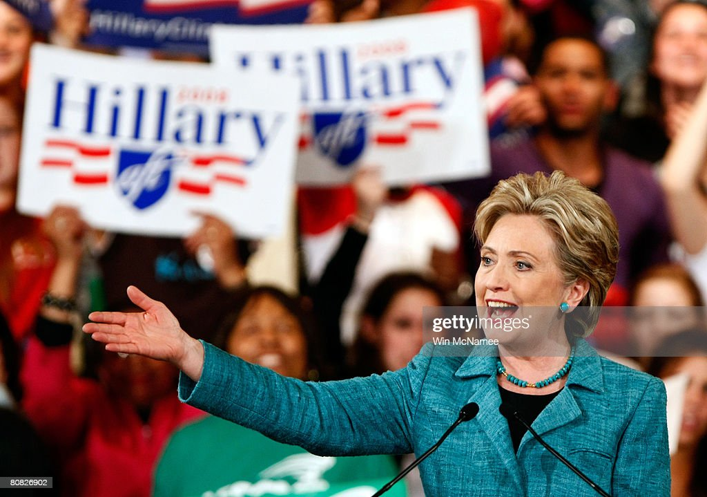Democratic presidential hopeful Sen. Hillary Clinton (D-NY) speaks during a primary night rally in the Park Hyatt Philadelphia at the Bellevue April 22, 2008 in Philadelphia, Pennsylvania. Early results indicate Sen. Clinton will win the Pennsylvania primary over rival Sen. Barack Obama (D-IL).