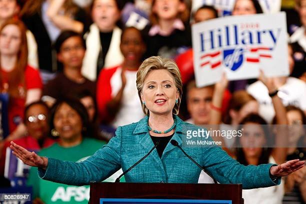 Democratic presidential hopeful Sen Hillary Clinton speaks during a primary night rally in the Park Hyatt Philadelphia at the Bellevue April 22 2008...