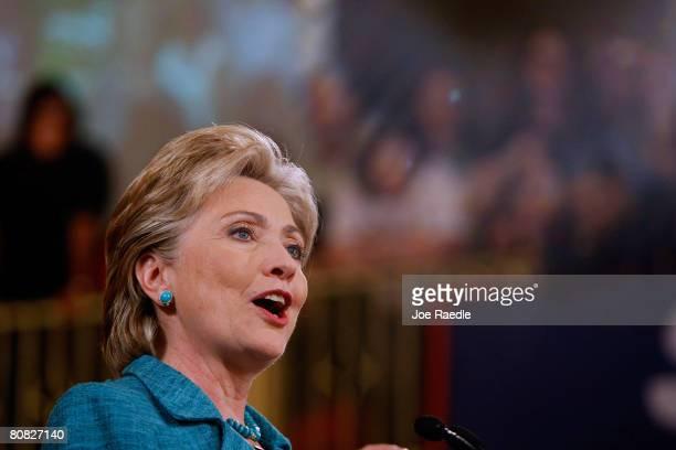 Democratic presidential hopeful Sen Hillary Clinton speaks during her primary night celebration party in the Park Hyatt Philadelphia at the Bellevue...