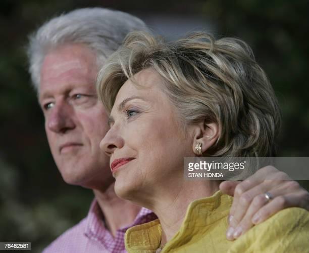 Democratic presidential hopeful Sen Hillary Rodham Clinton and former US President Bill Clinton at a fall kickoff campaign rally 02 September 2007 at...