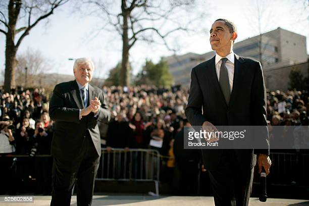Democratic presidential hopeful Senator Barack Obama and Senator Ted Kennedy visit an outside overflow crowd on the campus of American University in...