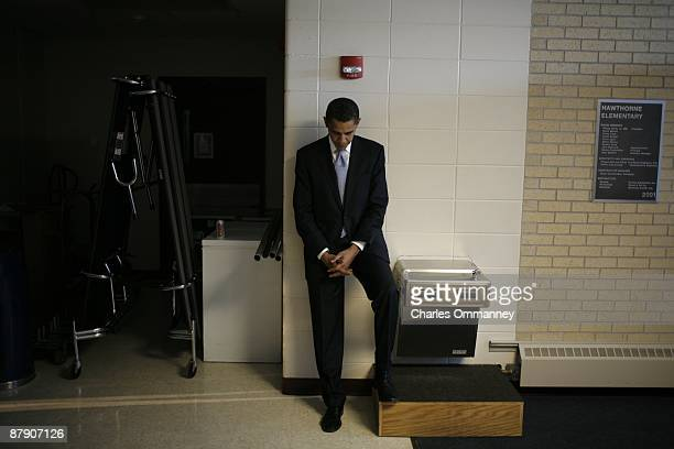 'EXCLUSIVE' Democratic Presidential hopeful Senator Barack Obama backstage at a campaign stop with senior advisors David Axlerod and Robert Gibbs...