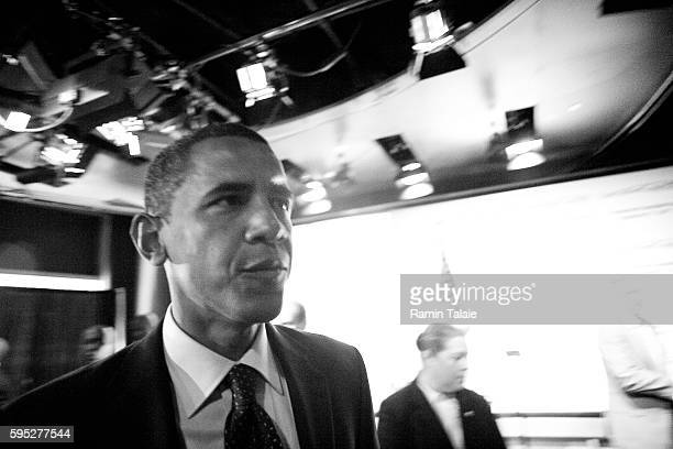 Democratic presidential hopeful Senator Barack Obama of Illinois prepares to deliver an economic speech at the Executive Council of New York City at...