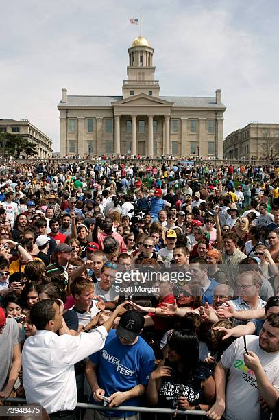 Democratic presidential hopeful Senator Barack Obama shakes hands with supporters after speaking on the Pentacrest at the University of Iowa April 22...