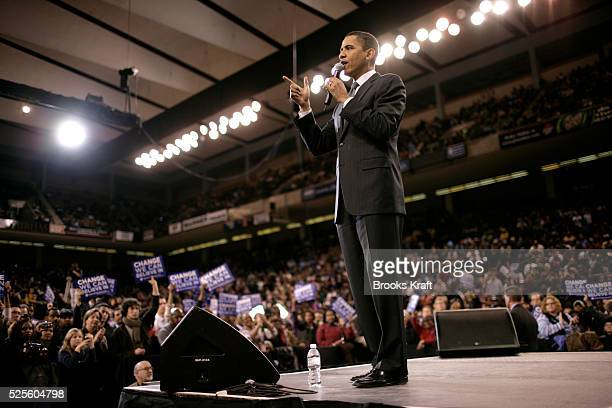 Democratic presidential hopeful Senator Barack Obama speaks at a campaign rally at an arena in Baltimore, Maryland.