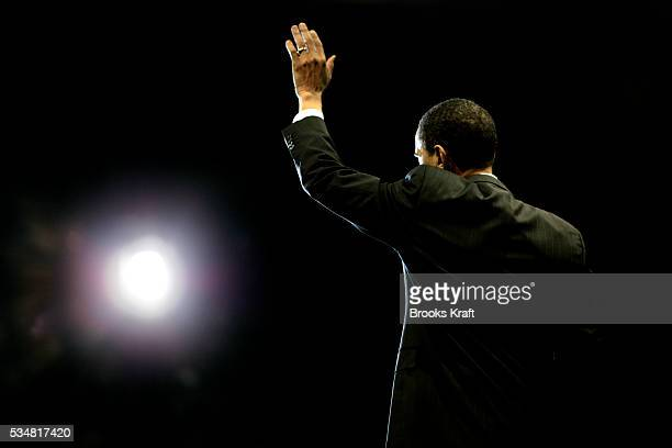 Democratic presidential hopeful Senator Barack Obama speaks at a campaign rally at an arena in Baltimore Maryland