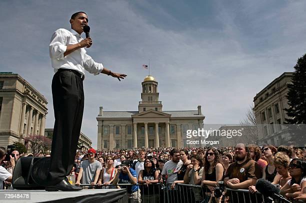 Democratic presidential hopeful Senator Barack Obama speaks in front of the Old Capitol on the Pentacrest at the University of Iowa April 22 2007 in...