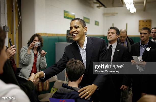 Democratic Presidential hopeful Senator Barack Obama speaks to voters at a campaign stop December 28 2007 in Coralville Iowa The stop was part of...