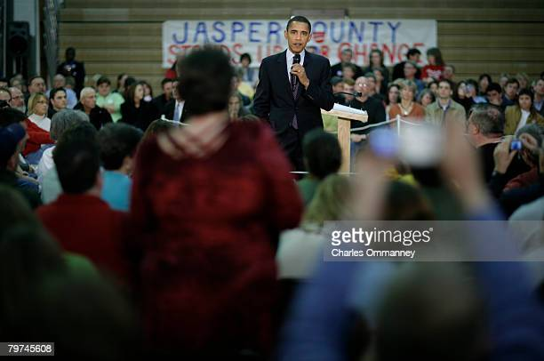 Democratic Presidential hopeful Senator Barack Obama speaks to voters at a town hall style meeting in the Newton Senior High School December 30, 2007...