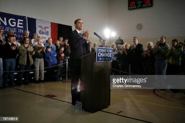 Democratic presidential hopeful Senator Barack Obama speaks to voters at a town hall style meeting at the McCreary Community Building December 31...