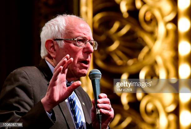 Democratic presidential hopeful Senator Bernie Sanders speaks at a Bernie 2020 rally at the Stifel Theater in downtown StLouis Missouri on March...