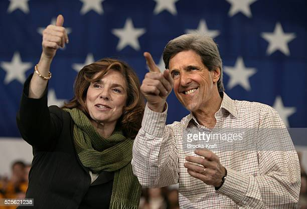 Democratic presidential hopeful Senator John Kerry of Massachusetts and his wife Teresa Heinz Kerry appear at a campaign rally