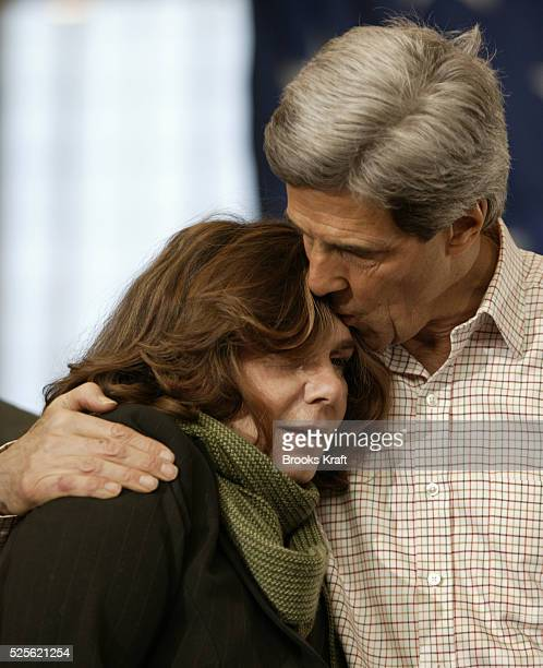 Democratic presidential hopeful Senator John Kerry of Massachusetts kisses his wife Teresa Heinz Kerry during a campaign rally