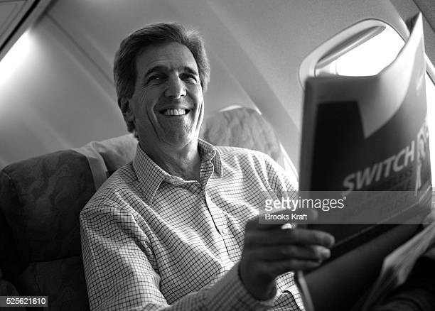 Democratic presidential hopeful Senator John Kerry of Massachusetts aboard his campaign plane at Dulles Airport in Dulles Virginia Kerry was headed...