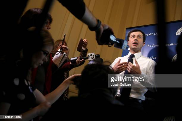 Democratic presidential hopeful South Bend Indiana mayor Pete Buttigieg speaks to members of the media before appearing at the Commonwealth Club of...