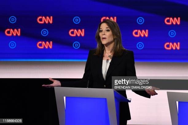 Democratic presidential hopeful US author and writer Marianne Williamson delivers her closing statement during the first round of the second...