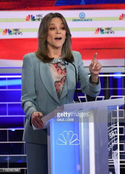 Democratic presidential hopeful US author and writer Marianne Williamson participates in the second Democratic primary debate of the 2020...