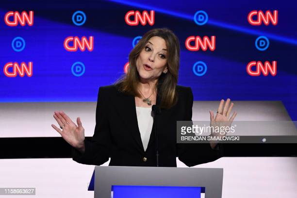 Democratic presidential hopeful US author and writer Marianne Williamson speaks during the first round of the second Democratic primary debate of the...