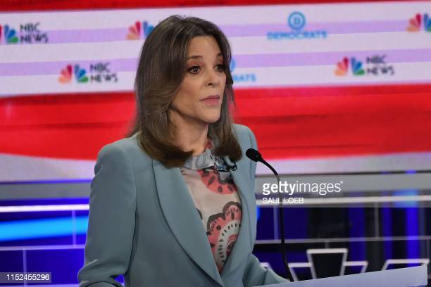 Democratic presidential hopeful US author Marianne Williamson speaks during the second Democratic primary debate of the 2020 presidential campaign...