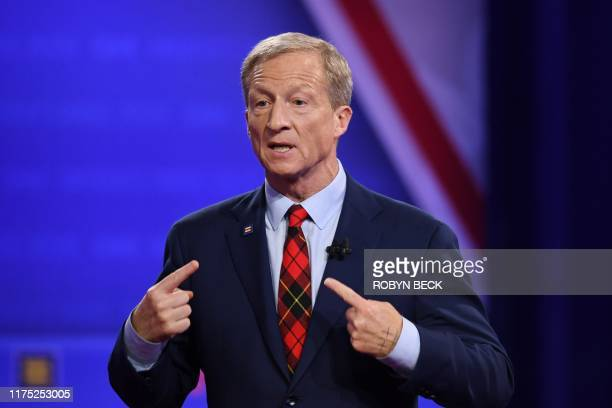 Democratic presidential hopeful US billionaire philanthropist Tom Steyer speaks during a town hall devoted to LGBTQ issues hosted by CNN and the...