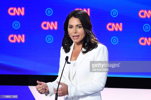 Democratic presidential hopeful US Representative for Hawaii's 2nd congressional district Tulsi Gabbard speaks during the second round of the second...
