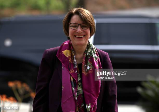 Democratic presidential hopeful US Sen Amy Klobuchar arrives at a roundtable discussion on climate change on March 19 2019 in San Francisco...