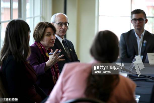 Democratic presidential hopeful US Sen Amy Klobuchar speaks during a roundtable discussion on climate change on March 19 2019 in San Francisco...