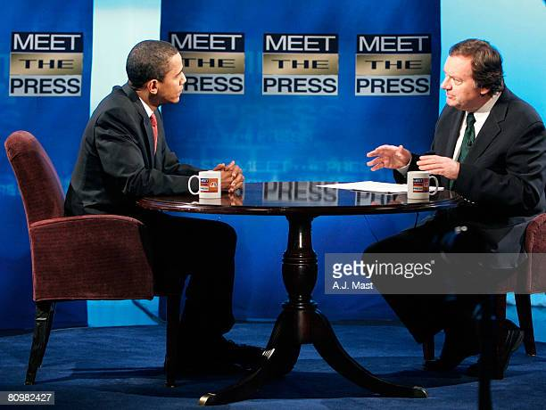 Democratic presidential hopeful US Sen Barack Obama speaks to host Tim Russert during a live taping of 'Meet the Press' May 4 2008 in Indianapolis...