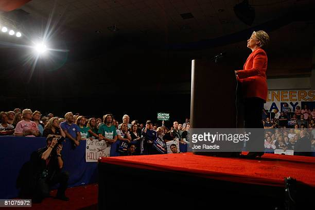 Democratic presidential hopeful US Sen Hillary Clinton addresses supporters during her primary night event at the Charleston Civic Center May 13 2008...