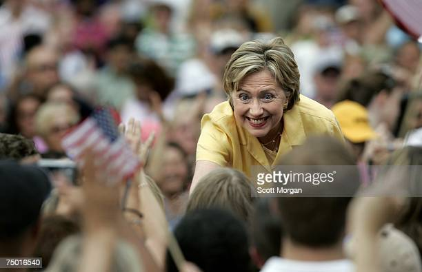 Democratic presidential hopeful US Sen Hillary Clinton shakes hands with supporters before speaking at the Iowa Memorial Union on the campus of the...