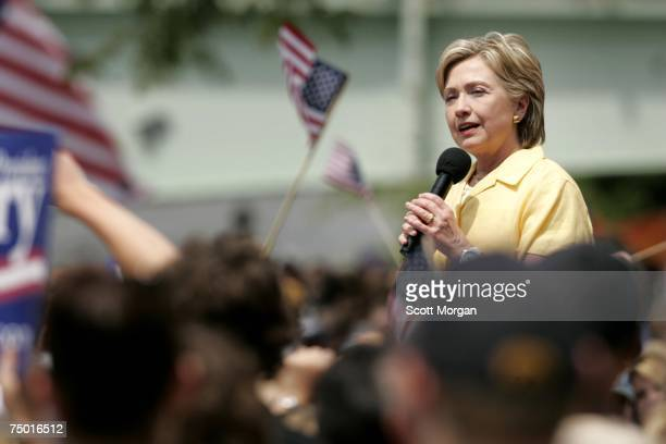 Democratic presidential hopeful US Sen Hillary Clinton speaks during a stop with her husband former President Bill Clinton at the Iowa Memorial Union...