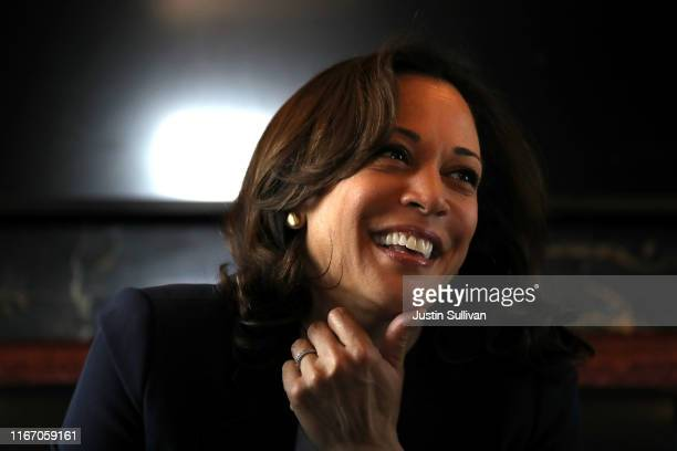 Democratic presidential hopeful U.S. Sen. Kamala Harris rides on her campaign bus to a campaign event in Storm Lake on August 09, 2019 in Sioux City,...