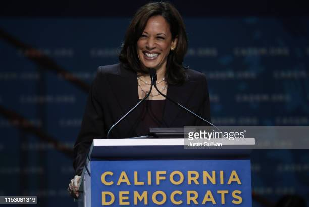 Democratic presidential hopeful US Sen Kamala Harris speaks during the California Democrats 2019 State Convention at the Moscone Center on June 01...
