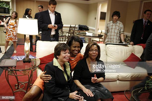 Democratic presidential hopeful U.S Senator Barack Obama 's wife Michelle Obama backstage before her husband's speech during a rally at the North...