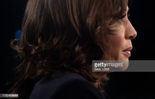 Democratic presidential hopeful US Senator for California Kamala Harris speaks with MSNBC host Chris Matthews in the Spin Room after the second...