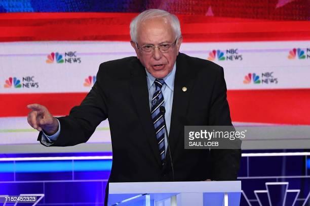Democratic presidential hopeful US Senator for Vermont Bernie Sanders speaks during the second Democratic primary debate of the 2020 presidential...