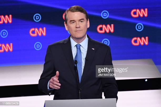 Democratic presidential hopeful US Senator from Colorado Michael Bennet speaks on stage during the second round of the second Democratic primary...