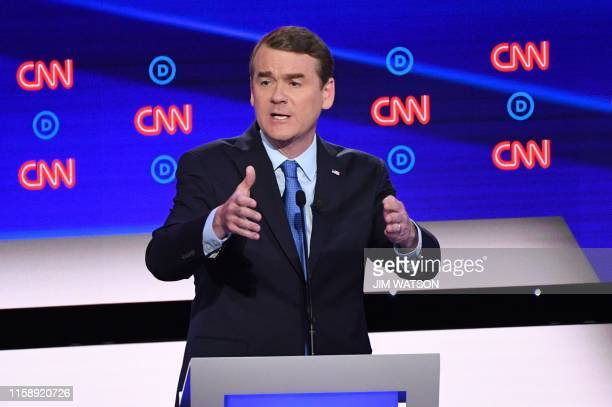 Democratic presidential hopeful US Senator from Colorado Michael Bennet speaks during the second round of the second Democratic primary debate of the...