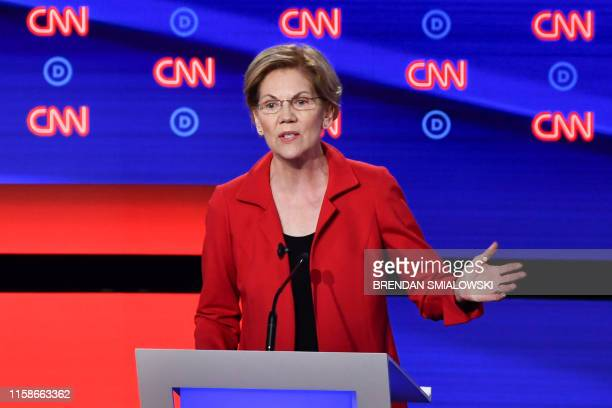Democratic presidential hopeful US Senator from Massachusetts Elizabeth Warren participates in the first round of the second Democratic primary...