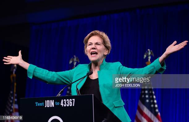 Democratic Presidential hopeful US Senator from Massachusetts Elizabeth Warren speaks on-stage during the Democratic National Committee's summer...