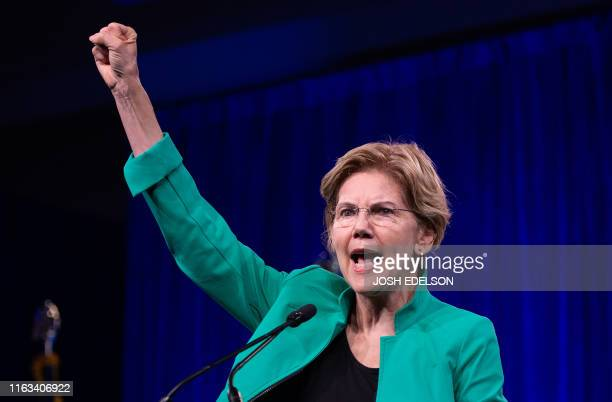 Democratic Presidential hopeful US Senator from Massachusetts Elizabeth Warren speaks on-stage during the Democratic National Committee's summer...