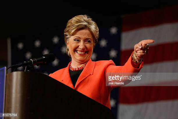 Democratic presidential hopeful US Senator Hillary Clinton addresses supporters during a primarynight celebration at the Charleston Civic Center May...