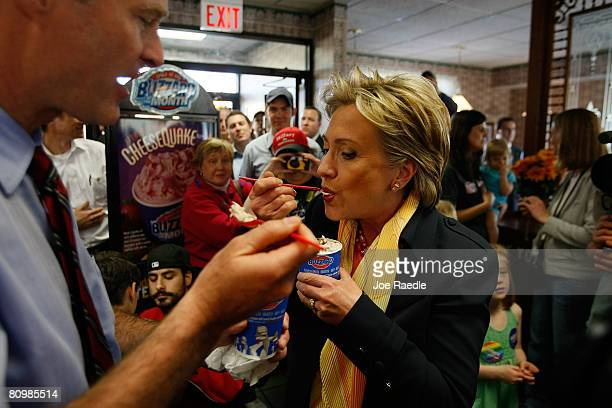 Democratic presidential hopeful US Senator Hillary Clinton and Senator Evan Bayh eat Blizzards at a Dairy Queen May 4 2008 in South Bend Indiana...
