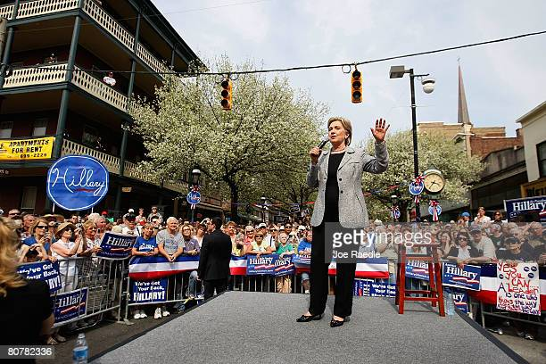 Democratic presidential hopeful US Senator Hillary Clinton during a campaign rally at the corner of South Beaver and West Market streets April 19...