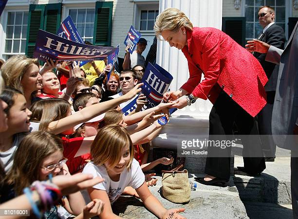 Democratic presidential hopeful US Senator Hillary Clinton greets supporters at Shepherd University McMurran Hall May 7 in Shepherdstown West...