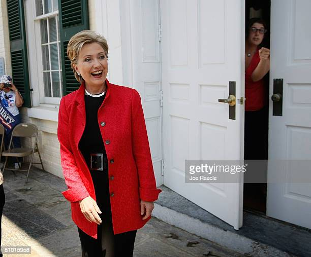 Democratic presidential hopeful US Senator Hillary Clinton is introduced during a campaign event at Shepherd University McMurran Hall May 7 in...