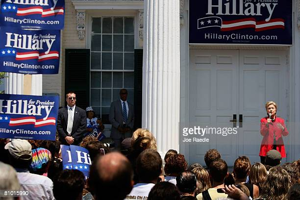 Democratic presidential hopeful US Senator Hillary Clinton speaks during a campaign event at Shepherd University McMurran Hall May 7 in Shepherdstown...